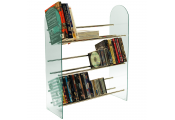 LUXOR - 3 Tier 171 CD / 117 DVD Media Storage Shelf Rack - Glass / Chrome