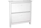 STOWE - 8 Pair 2 Drawer Shoe Storage Organiser Cabinet - White