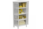 MISSION - Shaker Bathroom Corner Storage 4 Tier Shelf Unit - White