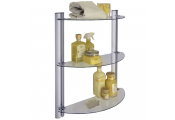 SPLASH - 3 Tier Glass Adjustable Bathroom Wall Storage Shelves - Silver