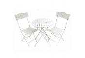 STAR - Metal Garden Bistro Table and Two Chairs Set - Cream
