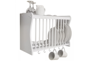CHESHUNT - Wall Mounted Kitchen Plate Cup / Storage Rack with Hooks - White