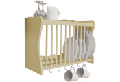 CHESHUNT - Wall Mounted Kitchen Plate Cup / Storage Rack with Hooks - Buttermilk