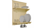 NOVEL - Kitchen Plate Bowl Cup Display / Wall Rack with Hooks - Buttermilk