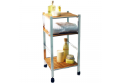 BAMBOO - Three Tier Bathroom Storage Caddy with Wheels - Silver / Natural