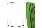 ARC - Curved Extendable Telescopic 110cm - 196cm Chrome Shower Curtain Rail - Silver