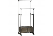 SERGENT - Double Wardrobe / Hanging Clothes Rail - Silver / Black