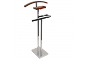 TROMSO - Metal Clothes Valet / Suit Hanger - Silver / Walnut