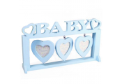 HEART - Wooden Baby 3 Aperture Photo Frame - Blue