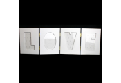 LOVE - Folding Free Standing 4 Picture Collage Photo Frame  - White