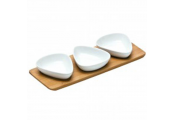 SERVE - Set of 3 Porcelain Snack Bowls and Bamboo Serving Tray - White