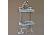 HEART - Metal Wall Mounted 3 Basket Shelves with 2 Hooks - White