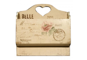 BELLE - Wooden Jardiniere Heart Wall Tidy / Letter Rack - Cream