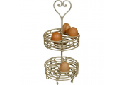 HEART - Metal 2 Tier Egg / Fruit Storage Caddy - Cream