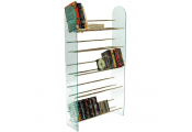 LUXOR - 5 Tier 285 CD / 195 DVD Media Storage Shelf Rack - Glass / Chrome