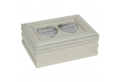 COLLECT - Rustic Shabby Chic Heart Box with Double Photo Frame Lid - Cream