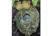 TWEET - Hand Crafted Bird Nest Garden Ornament - Yellow