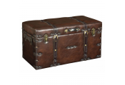 FAUX - Leather Look Large Storage Ottoman / Trunk / Case - Brown