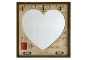 HEART - Retro French Style Postcard Mirror with 3 Photo / Note Pegs