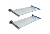 MIRO - Set of Two Glass Wall Storage / Display Shelves - Silver