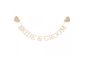 LOVE - Bride and Groom Hanging Heart Wedding Banner Decoration - Cream