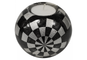 SHINE - Glazed Ceramic Small Globe Single Tea light / Candle Holder - Checked