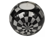 SHINE - Glazed Ceramic Medium Globe Single Tea light / Candle Holder - Checked