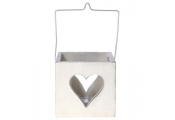 HANG -Heart Hanging Single Tea light Holder Cube - Cream