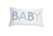 BABY -  Decorative Linen Cushion with Inner - Blue / White