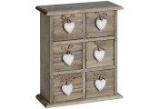 HEART - Limed Wood Free Standing Storage Drawers - Brown