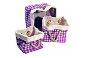 STORE - Gingham Square Canvas Storage Boxes - Set of 3 - White / Lilac