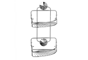 CORNER - Metal Bathroom Storage 2 Shelf / Caddy - Silver