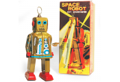SPARKLING ROBOT - Retro Tin Collectable Ornament - Gold