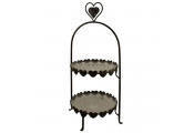DELIGHTFUL - Metal Heart 2 Tier Cake / Afternoon Tea Stand  - Dark Brown