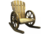CARTWHEEL - Solid Wood Garden Rocking Chair Seat - Burntwood