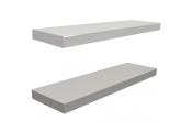 GLOSS - Wall Mounted 70cm Floating Shelves - Pack of Two - White