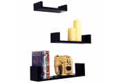MELODY - Wall Mounted Floating Gloss Display Storage Shelves - Set of 3 - Black