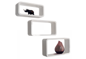 CHARLTON - Retro Wall Mounted Floating Storage / Display Shelves - Set of 3 - White