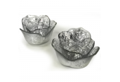 LITE - Glass Flower Shaped Tea light Candle Holders - Set of Two - Silver