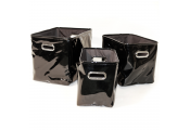 SLICK - Set of 3 Gloss PVC Gothic Rectangular Storage / Decorative Baskets / Bins - Black