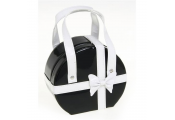CHIC - Medium 14cm Round Jewellery Box / Travel Bag - Black / White