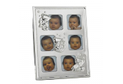 TEDDY - Baby 6 Picture Metal Collage Photo Frame - Silver