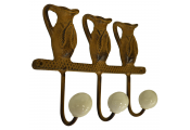 JUG - Cast Iron Wall Mounted Garden Jug Design 3 Key / Coat Hooks - Brown / White