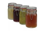 KEEP - Glass Spice / Storage Rubber Clip Seal Jars - Set of 4