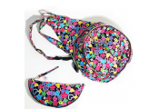 HANDYBAG - Folding / Pop-up / Fold Out Round Rucksack - Retro Flowers