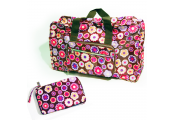 HANDYBAG - Folding / Pop-up / Fold Out Tote Duffle Bag - Flowers - Brown / Pink / Purple