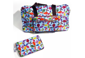 HANDYBAG - Folding / Pop-up / Fold Out Tote Duffle Bag / Reusable Shopper - Retro Flowers