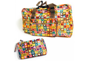 HANDYBAG - Folding / Pop-up / Fold Out Tote Duffle Bag - Geometric - Multi-coloured