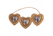 HEART - Solid Wood Triple Hanging Photo Frame - Natural