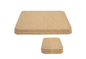 CORK - Rectangular Placemats and Square Coasters - Set of 4 each